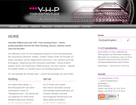 Screenshot: Your Hosting Place (Y-H-P)