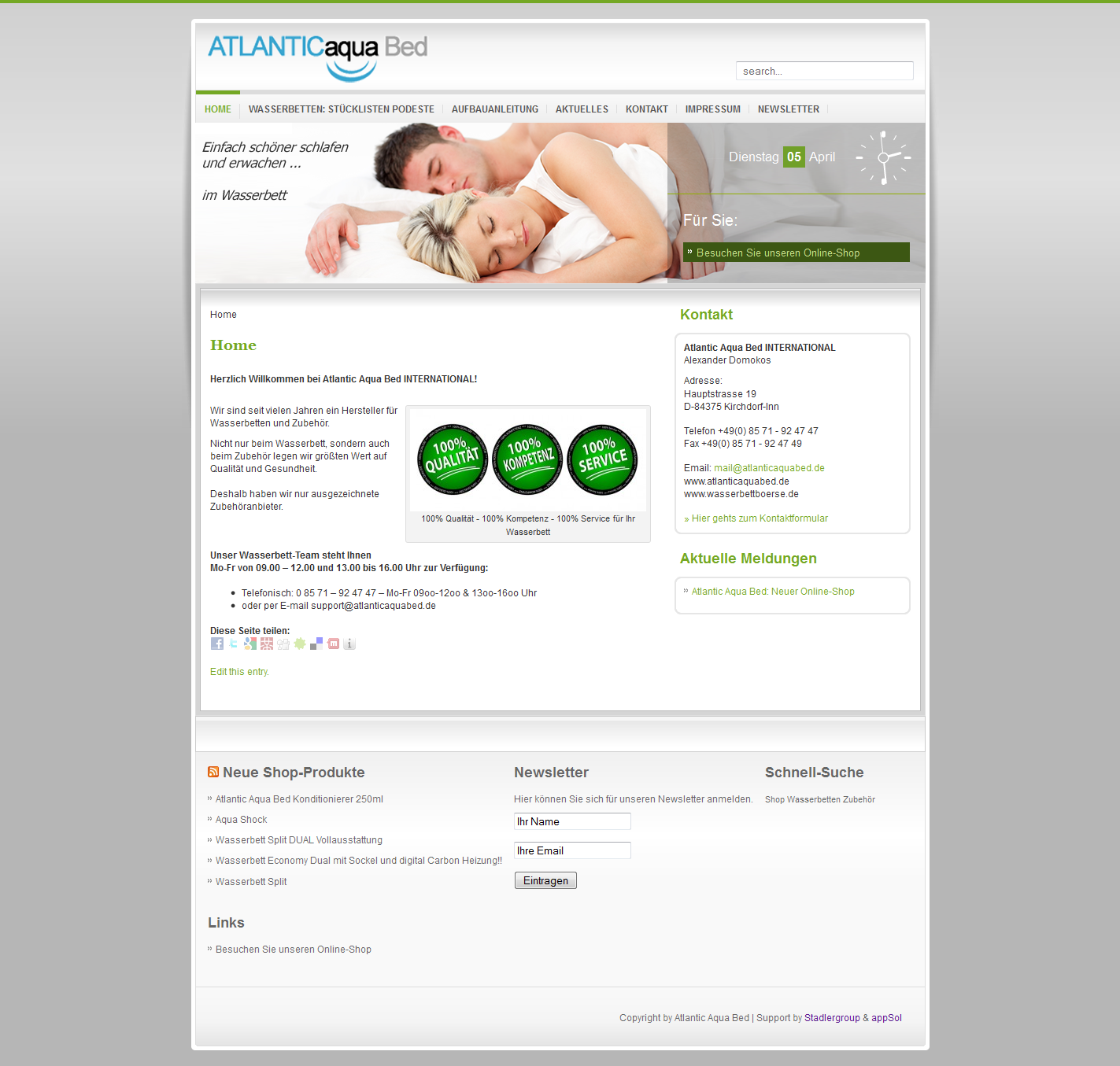 Screenshot der Webseite: Atlantic Aqua Bed